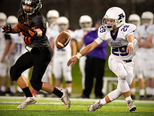 Albany receiver Carter Huberty, 29, can't pull in a