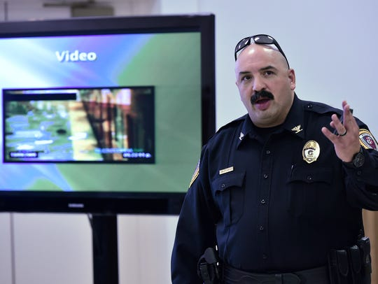 Chambersburg Police Chief presents an active-shooter training in March 2017.