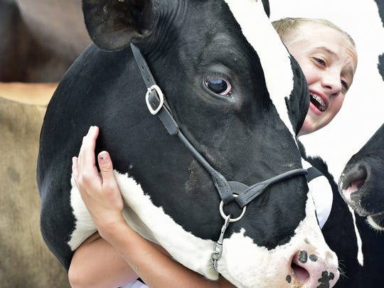 Ellisa Gamby, 12, hugs her cow, Dabble, after competing