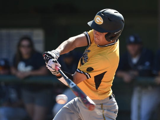 Galena's Austin Crofoot hits  a double against Damonte