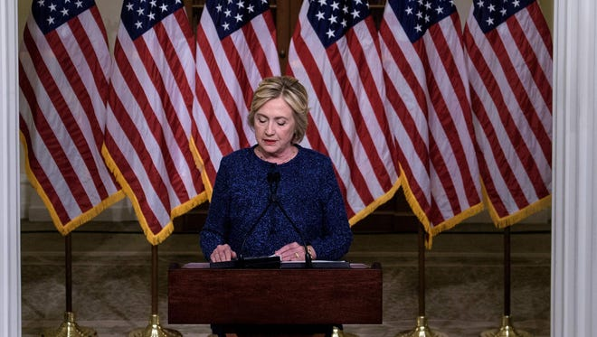 This photo taken on Sept. 9, 2016, shows Hillary Clinton speaking to the press in New York.