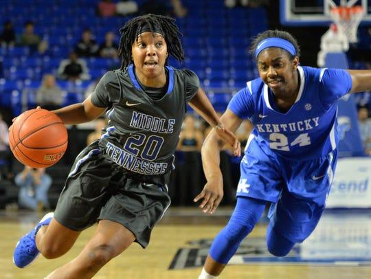 MTSU's Tyisha Petty (20) has stepped up as team leader