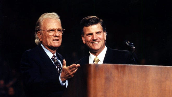 Billy and Franklin Graham in 1998.