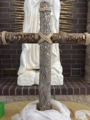 A cross, made from the trunk of a Joshua Tree, at St.