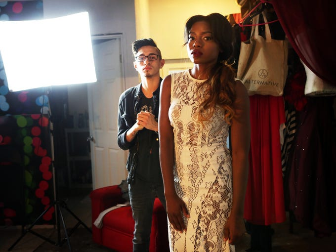 Local designer Oscar Lopez will show work at the upcoming Portland Fashion Week, including this dress modeled by KJ Brooks.