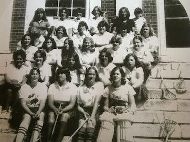 A team photo of Nyack's first-ever girls lacrosse team in 1978. Stacey Sennas McGowan is second row from the back and second in from the right.
