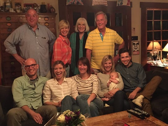 Debby Boone, back row, next to her husband and parents,