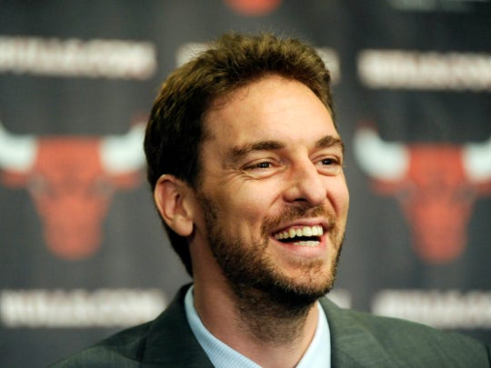 Chicago Bulls center Pau Gasol in attendance during a press conference at the United Center.