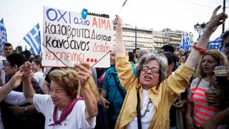 Demonstrators during a rally  in Athens, Greece, 29 June 2015.