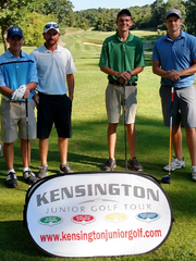 The Caddy Division winners at the Kensington Junior Golf Tour Moose Ridge event included winners (from left) Austin Dillon and Michael Blaesser of Western Golf & Country Club, and runners-up Travis Tubbs and Alex Opiteck of Walnut Creek C.C.