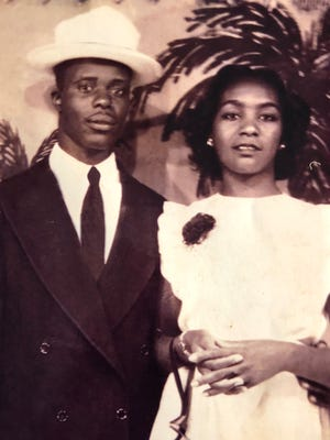 The Thompsons on their wedding day in 1948.