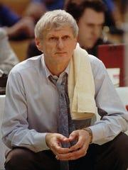 Arizona State men's basketball coach Bill Frieder watches