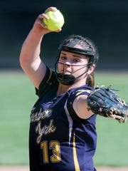 Eastern York pticher Maelynn Leber delivers to a Kennard-Dale