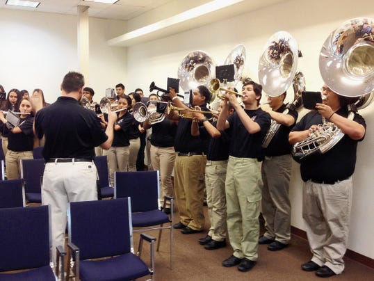 "The Cobre High School Band performed ""The Star-Spangled Banner"" Thursday morning for the Grant County Board of Commissioners. The band was recognized by the commissioners for being the 16-time State Champions. The band is under the direction of Charles Gerheart. Randal Seyler - Sun-News"