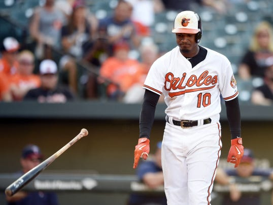 Baltimore's Adam Jones throws his bat after he struck out against the Minnesota Twins during the 11th inning with two men on base on Sunday in Baltimore. The Twins won 4-3 in 12 innings.