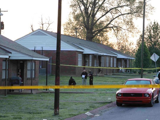 Clarksville Police investigate a homicide after a man was found shot April 13, 2017, on Ernest Shelton Drive in Lincoln Homes.