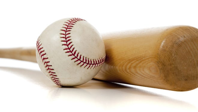Baseball bat and ball on white background