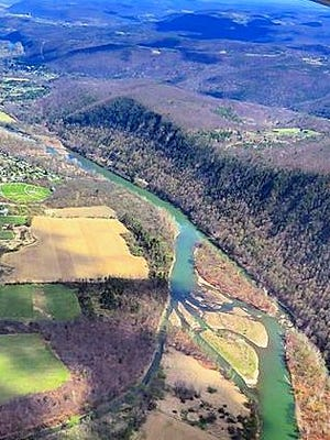 An aerial view of the Chemung River Valley in the Town of Big Flats.