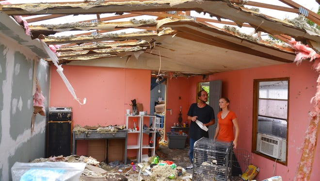 Howard Lounsberry and Teddi Salamacha of Cape Canaveral had their trailer destroyed in the storm. They live in the Port Canaveral Trailer Park. People woke up Monday morning to the aftermath of Hurricane Irma on the Space Coast.