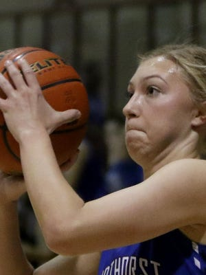 Windthorst's Brooke Schreiber shoots from three-point range in a Region II-2A area round playoff game against Friday. Schreiber's scoring and defense have helped the Trojanettes move within a win of a fourth straight regional tournament berth.