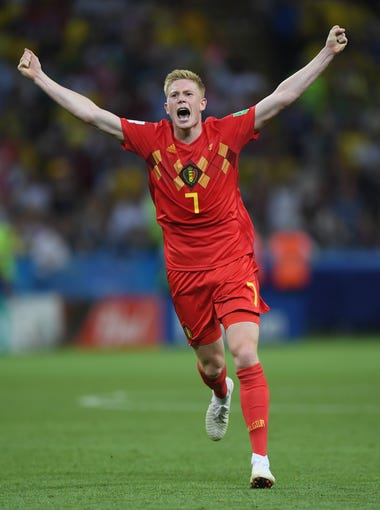 Kevin De Bruyne of Belgium celebrates following his side's 2-1 victory over Brazil in the World Cup quarterfinals.