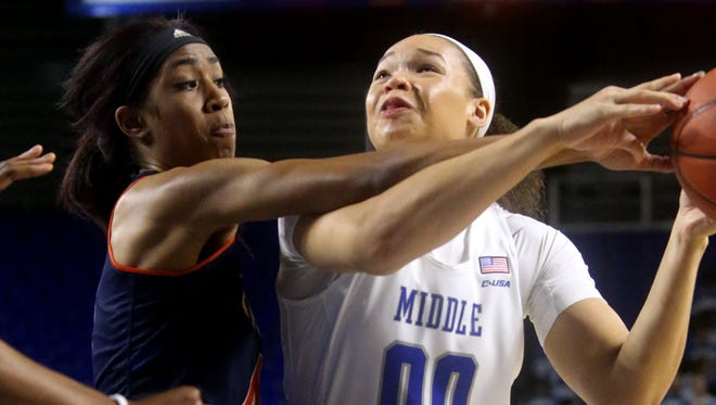 MTSU's Alex Johnson (00) leads the Lady Raiders with 20 points per game.