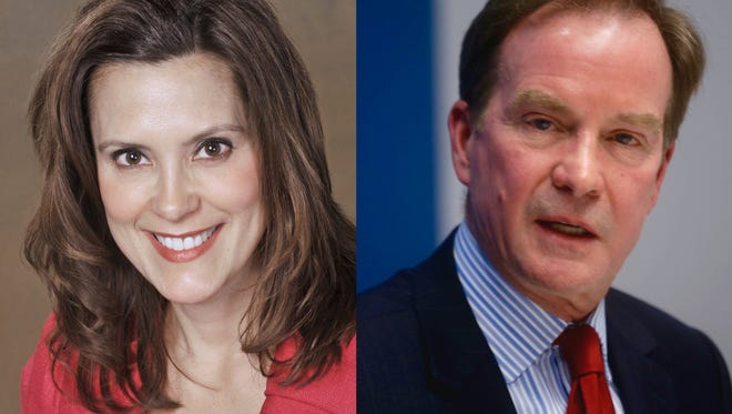 Former State Sen. Gretchen Whitmer, D-East Lansing and Michigan Attorney General Bill Schuette