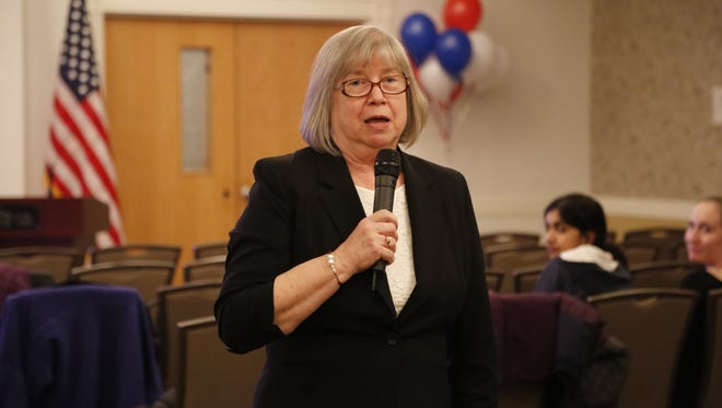 Barbara Lifton speaks to supporters in Ithaca after successfully defending her Assembly seat in 2016.
