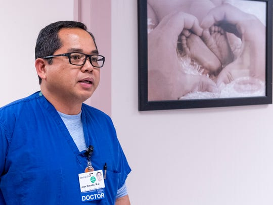 NICU Medical Director Dr. Jose Dosado talks with media