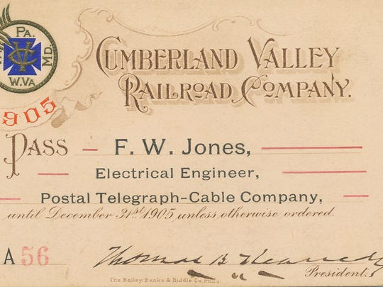 Railroad pass signed by T.B. Kennedy, president of the C.V.R.R., in 1905.