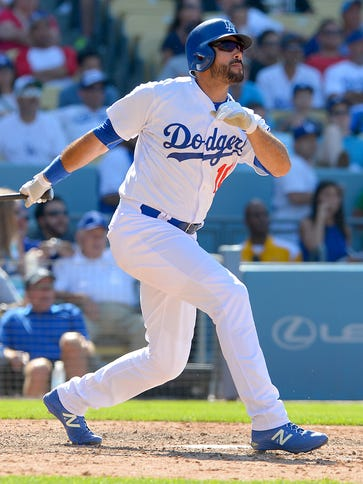 Dodgers right fielder Andre Ethier hits a walk-off