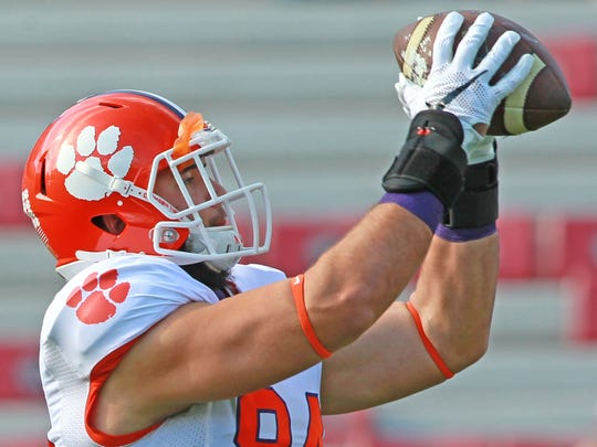Clemson tight end Cannon Smith (84) catches a ball during warmups before the Tigers' 2015 game against South Carolina in Columbia.