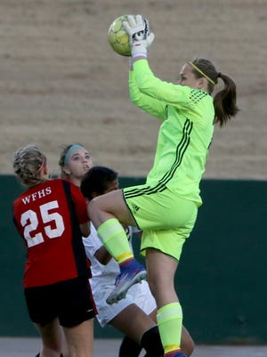 Wichita Falls High goalie Erin Smith makes the save in the match against Rider Tuesday, Jan. 31, 2017, at Memorial Stadium. The Lady Coyotes defeated the Lady Raiders 3-1.