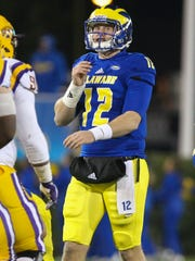 Delaware quarterback Pat Kehoe comes in late in the fourth quarter of the Blue Hens' 22-3 win at Delaware Stadium in 2017.