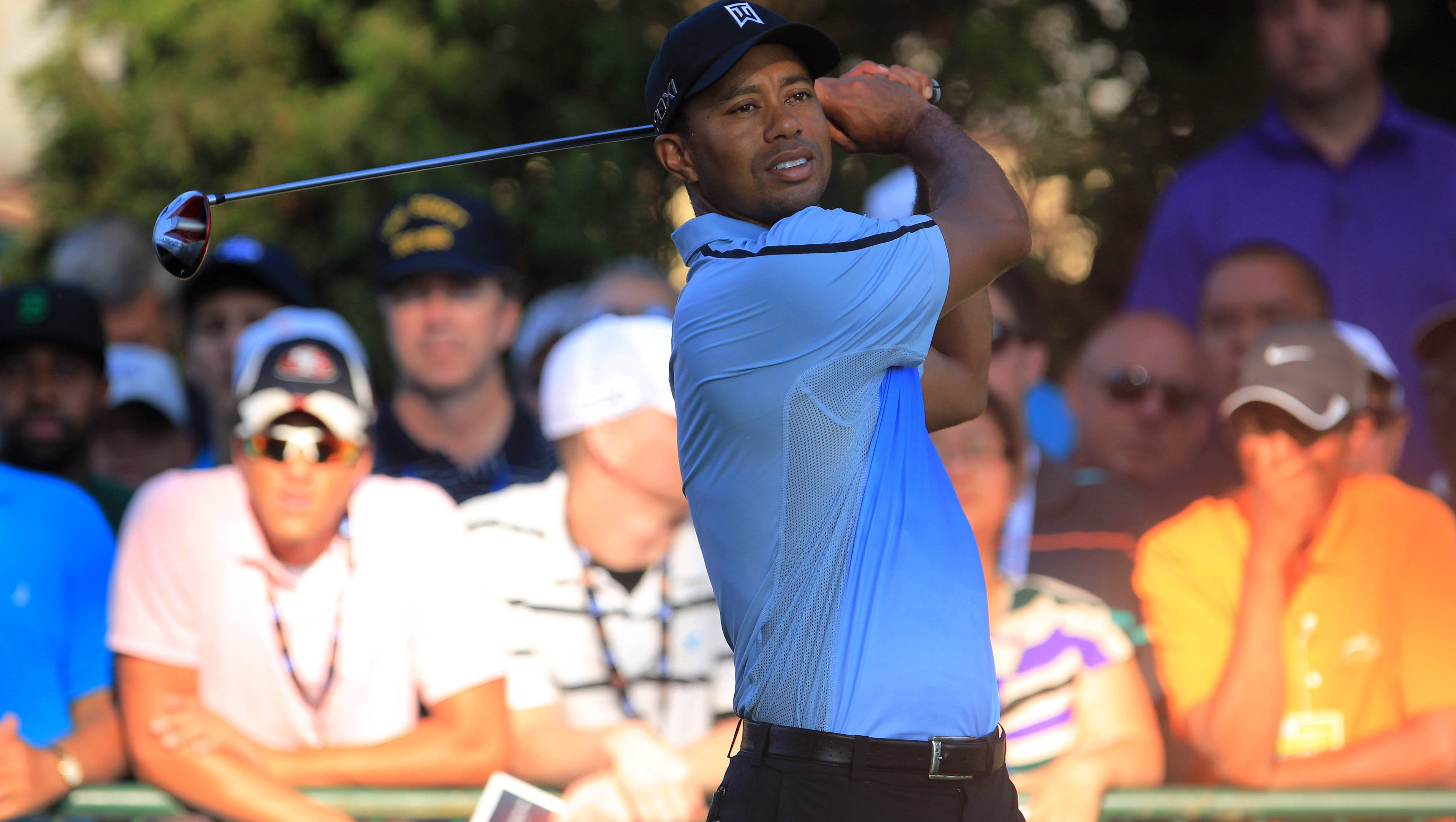 Tiger Woods  on the 10st tee during the first round of the 95th PGA Championship at Oak Hill Country Club.