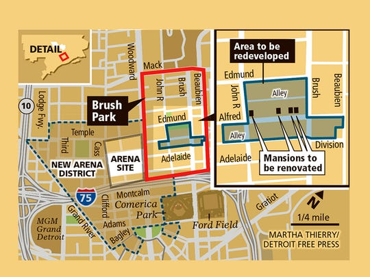 Location for renovation of four mansions and redevelopment in Brush Park.