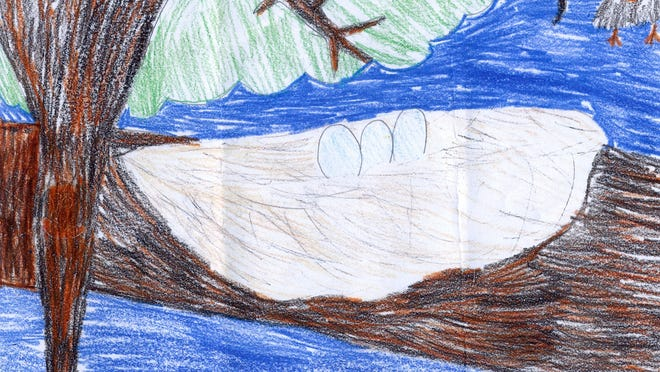 """""""Bird Nest with Eggs,"""" by Tessa Farquhar, grade two, Pawling Elementary School."""