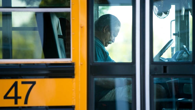 Bus driver Keith Shoemaker, better known as Mr. Shoe, prepares to go on a dry run on Day Zero, part of the Appoquinimink School District's effort to retain bus drivers this school year.