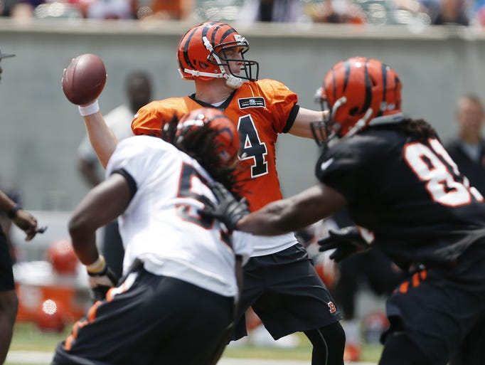 The Cincinnati Bengals quarterback Andy Dalton passes.