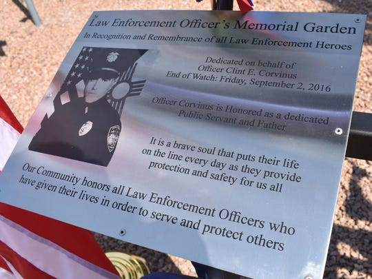 Fallen officer Clint Corvinus was honored with this plaque in the Law Enforcement Officers Memorial Garden on Saturday.