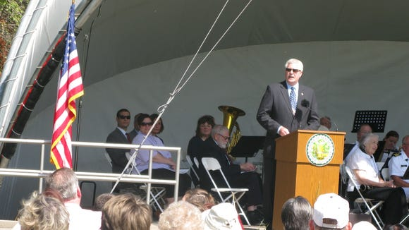 """Supervisor, Tony LaFountain, opens the Memorial Day ceremony with his """"Call to Order."""""""