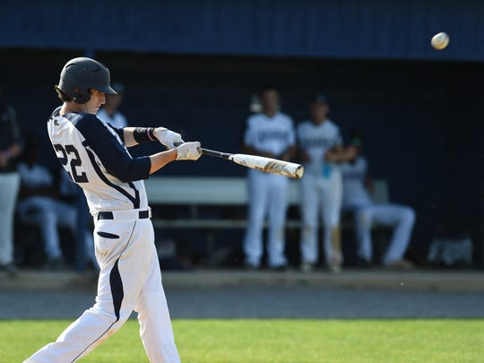 Lourdes' Blaise Byrne hits during Friday's game versus