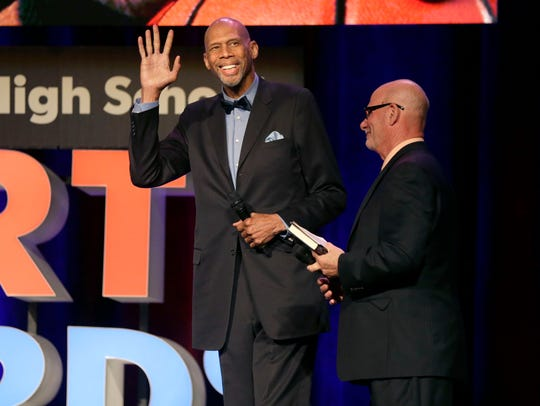 Kareem Abdul-Jabbar is introduced before a question