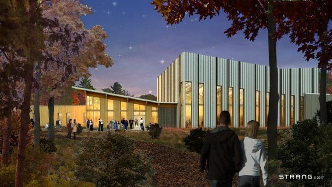 A rendering of the exterior of the proposed new creative campus in Fish Creek for Northern Sky Theater.