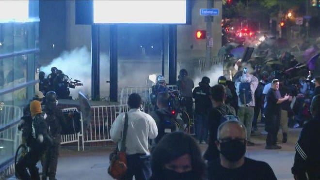 Rochester Police Chief La'Ron Singletary said it had become imperative to stop dangerous outsiders in the crowd from storming the Public Safety Building.