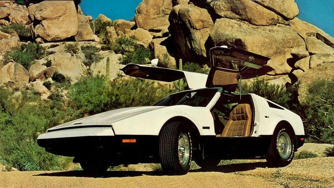 Advertisement for the 1974 to 1976 Bricklin SV-1, which featured Gull wing doors and either an AMC 360-V8 in 1974 or a 351 Ford Windsor V8 in 1975 and 1976.