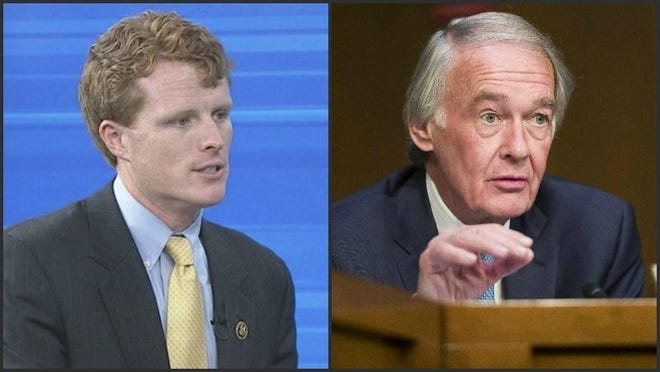 A new super PAC formed by environmental advocates is backing the re-election campaign of U.S. Sen. Edward Markey, right, who faces a tough Democratic primary fight against U.S. Rep. Joe Kennedy III.