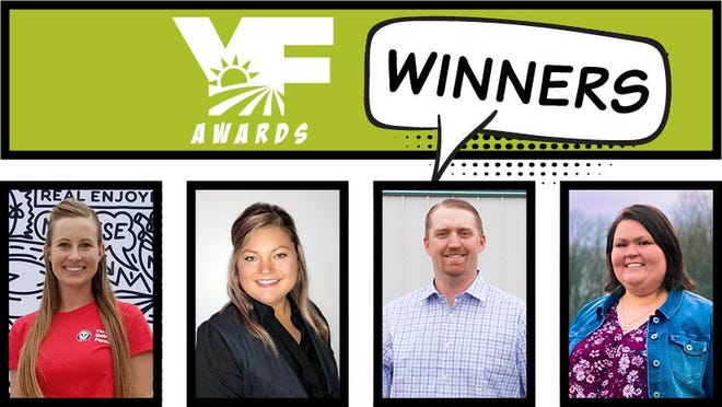 Katelyn Packard, Tera Baker, Terry Page and Katelyn Thompson (left to right) were recognized as winners in their respective categories for the 2020 Young Farmer awards at MFB's virtual 2020 Annual Meeting on Nov. 30.