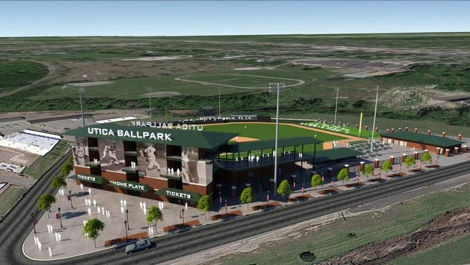 Rendering of the Macomb county minor league baseball stadium planned for Utica.  Preliminary front view.  courtesy of Macomb County Executive Mark A. Hackel