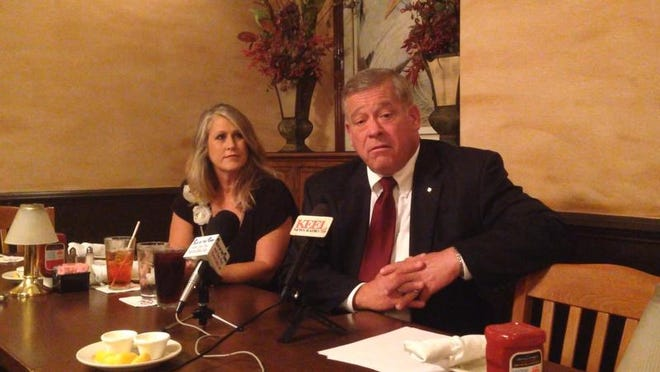 Benton attorney Whitley Graves and wife Robin Graves at a Tuesday morning press meeting at Ralph and Kacoo's in Bossier City. Graves is seeking to replace Bossier-Webster District Attorney Schuyler Marvin in the November election.